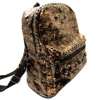 Personalized Skull Head Print Rivets Book Travel Bag Backpack