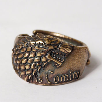 Direwolf ring, Stark ring, Game of thrones, Stark jewelry, House stark, Wolf ring, Wolf jewelry, Direwolf jewelry, Winter is coming