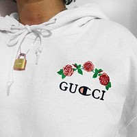 GUCCI X Champion Hoodie Sweater Shirt Fashion Top Embroidering Rose flower White For Women Men