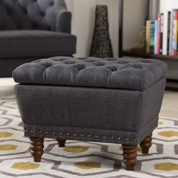 Baxton Studio Annabelle Modern and Contemporary Dark Grey Fabric Upholstered Walnut Wood Finished Button-Tufted Storage Ottoman Set of 1