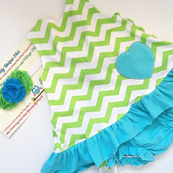 3 Piece Chevron Toddler Girls Outfit, Aqua Blue and Lime green Chevron Swing Dress and Bloomers Set, Matching Headband,Baby Girls ,Chevron