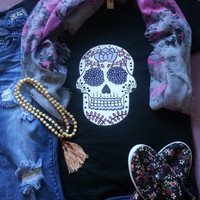Colorful sugar skull tshirt for juniors girls and women