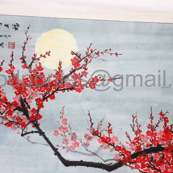 vintage Chinese Scroll Painting...hand painted Plum Blossoms by Moonlight