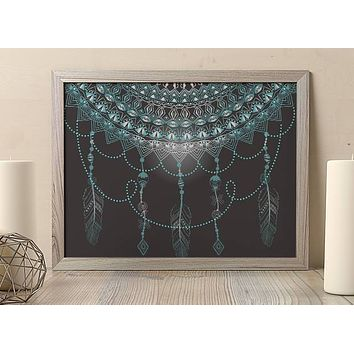 Reiki Charged Dream Catcher Teal Mandala Poster Bohemian Art Print Poster  Design no frame 20x30 Large