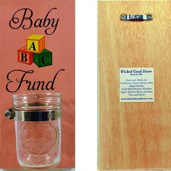 Wooden Wall Change Jar 10x5 Sign - Baby Fund - Pink
