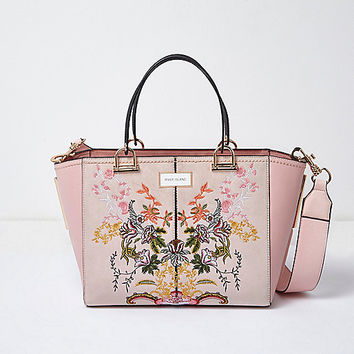 Pink floral embroidered tote bag