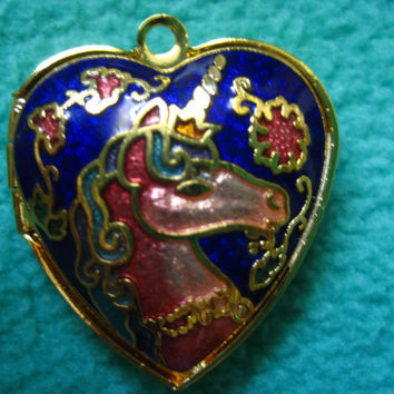 Vintage Chinese Heart-Shaped cloisonné Pendant Lock (Double-Sided), Elegant Simple Oriental Pendant,  Chinese Jewelry, Chinese Locket