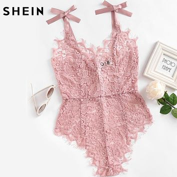 See Though Floral Lace Bodysuit Ladies Sexy Bodysuit Pink Sleeveless
