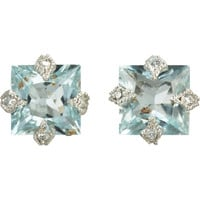 Diamond & Aquamarine Stud Earrings