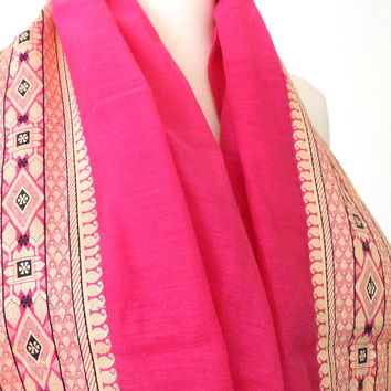Pink Tribal Infinity Scarf