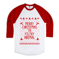 Merry Christmas Ya Filthy Animal (Red) Aa Unisex Baseball Tee Red/White