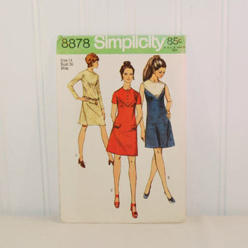 Vintage Simplicity 8878 One-Piece Dress (c. 1970) Misses' Size 14, Bust Size 36 Inches, Knee Length Dress, Retro Style, 1970s Dress