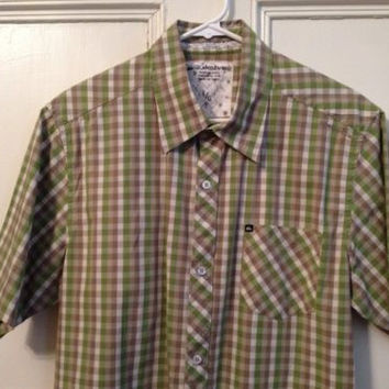 Quiksilver Shirt L Mens Size Large Short Sleeve Button Front Plaid Cotton Green