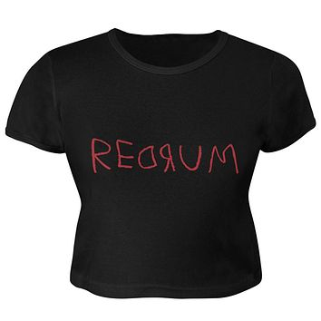 Halloween Horror Redrum Juniors Crop Top T-Shirt