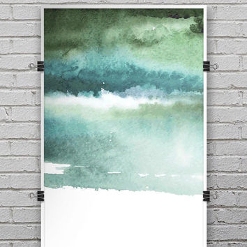Greenish Watercolor Strokes - Ultra Rich Poster Print