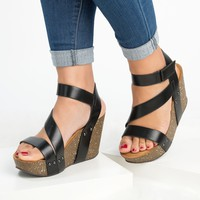 Gladiator Wedge Sandals - Black