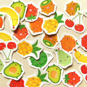 Cute Fruits Planner Sticker Pack of 30 - Kawaii Summer Food Fruits Shopping Stickers, Calendar Markers, Planner Supply, Erin Condren Sticker