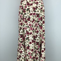 Plus Size Floral Maxi Skirt Long Floral Skirt Size 16 Extra Large XL Maroon White Green Skirt Womens Skirts Women Plus Size Clothing
