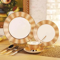 """Royal Bone China Dinner Set Ceramic Dishes For Restaurant 11""""8"""" Plates + Coffee Cup + Spork  Free Shipping"""