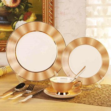 "Royal Bone China Dinner Set Ceramic Dishes For Restaurant 11""8"" Plates + Coffee Cup + Spork  Free Shipping"