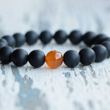 mens bracelet black bracelet agate jewelry gift for father brother hipster bracelet gemstone beaded bracelet bracelet groomsmen gift matte