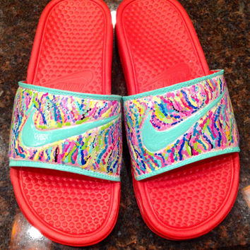"Nike slides hand painted in ""Lilly Pulitzer"" like sea coral design."