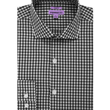 The Black Gingham Check Slim Fit Cotton Dress Shirt