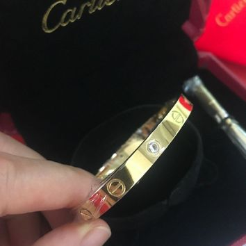 @Authentic Cartier 18K Love Yellow Gold Bracelet 4 Daimonds Size 19@##