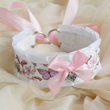 Ddlg cgl collar - Pastel butterfly baby - little princess lolita choker pet kitten play - kawaii cute fairy kei harajuku white and pink