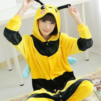 Hot Sale Women Bees flannel animal pajamas one piece / unisex hooded couples family pajama set pijama feminino free shipping