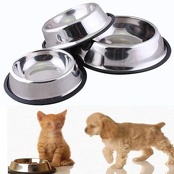 1 Pc Stainless Steel Durable Pet Dog Cat Feeding Food Non Slip Bowl Dish