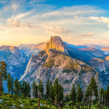 Yosemite Fine Art Print, Large Wall Art, Susan Taylor Photography, Yosemite National Park, Half Dome Sunset Panorama, Glacier Point Print