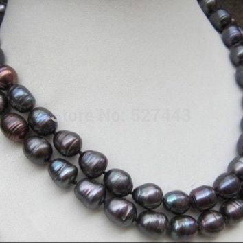 Natural Tahitian Black Baroque Pearl Necklace