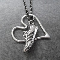 RUN WITH HEART Necklace on 18 inch Gunmetal Chain - Pewter Running Shoe and Pewter Open Floating Heart
