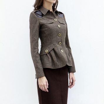 Military Style Jacket Fitted Autumn Blazer Herringbone Tweed material Wool Jacket in Coffee for Women - Custom made - NC429