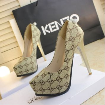 GUCCI Autumn new high-heeled shoes 13cm black work shoes waterproof platform sexy cloth beige high heels Apricot