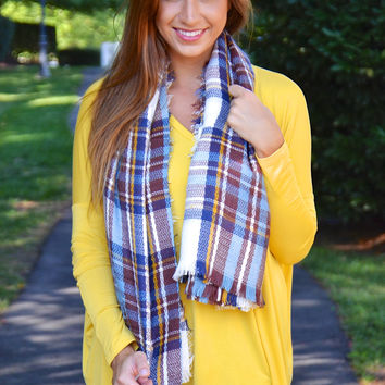 Chill in the Air blanket scarf, blue plaid