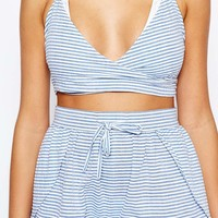 ASOS Seersucker Stripe Beach Crop Top Co-ord at asos.com