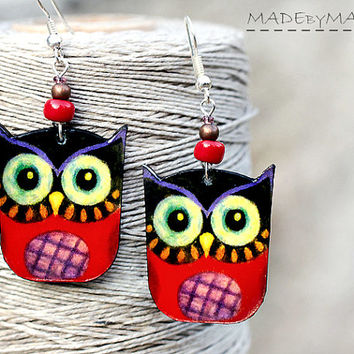 Owl shaped Earrings , Red and Purple,  Free Worldwide Shipping, dangle 2- sided Jewelry,