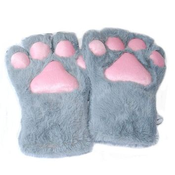1Pair Soft Anime Cosplay Plush Cute Bear Cat Kitten Paw Claw Gloves for Halloween Party Women Accessories 5 Colors