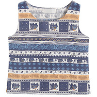 Blue Tribal Print Loose Vest