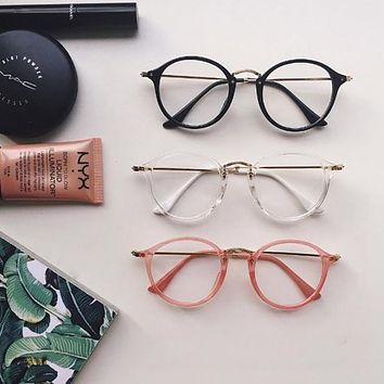 Round fleck Tortoise Frame Ulzzang vintage metal brief HARAJUKU sun glasses lovers circle sunglasses cheap eyeglasses