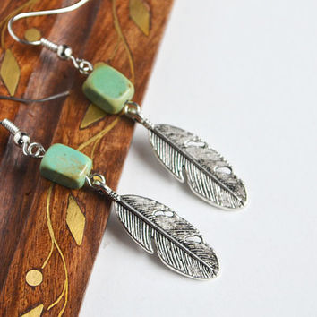 Feathers and Turquoise Earrings, Hippie Nature Inspired Earrings, Rectangular Stone Earrings, Feather Jewelry