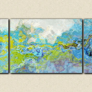 "Oversize triptych contemporary abstract expressionism canvas print, 30x60 to 40x78 in blue and green, ""Slip 'n Slide"""