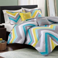 Elise Blue Chevron Print Twin Comforter Set