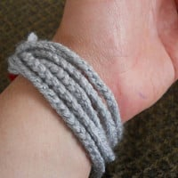 Grey and Maroon Crocheted Bracelet - Great for Teens - Great for School Spirit - Fun and Funky