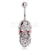 316L Surgical Steel Red Eye Skull in Flames Belly Button Navel Ring