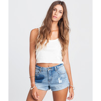 Billabong Women's High Side All Patched Up Denim Short Love Patch