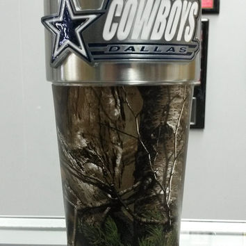 NFL Dallas Cowboys 16oz Stainless Steel RealTree Travel Tumbler