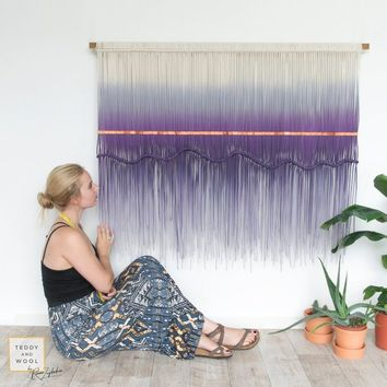 "Large Macrame Wall Hanging - Macrame Wall Art- Macrame Curtain- Wall Tapestry- Lavender Dyed - WallHanging - Lilac Macramé - ""Purple Rain"""